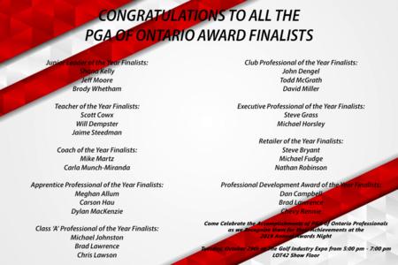 Congratulations to the PGA of Ontario Award Finalists