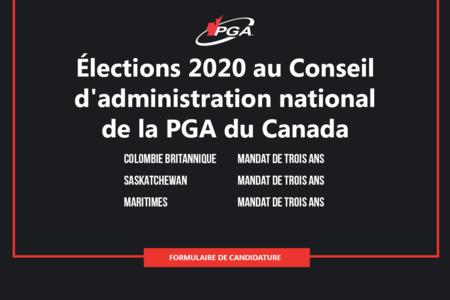 Élections 2020 au Conseil d'administration national de la PGA du Canada