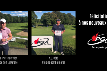 Two new professionals for the PGA of Quebec